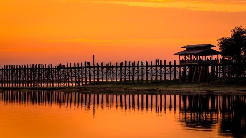 Ubein Bridge at sunrise. Mandalay, Myanmar royalty free stock photos