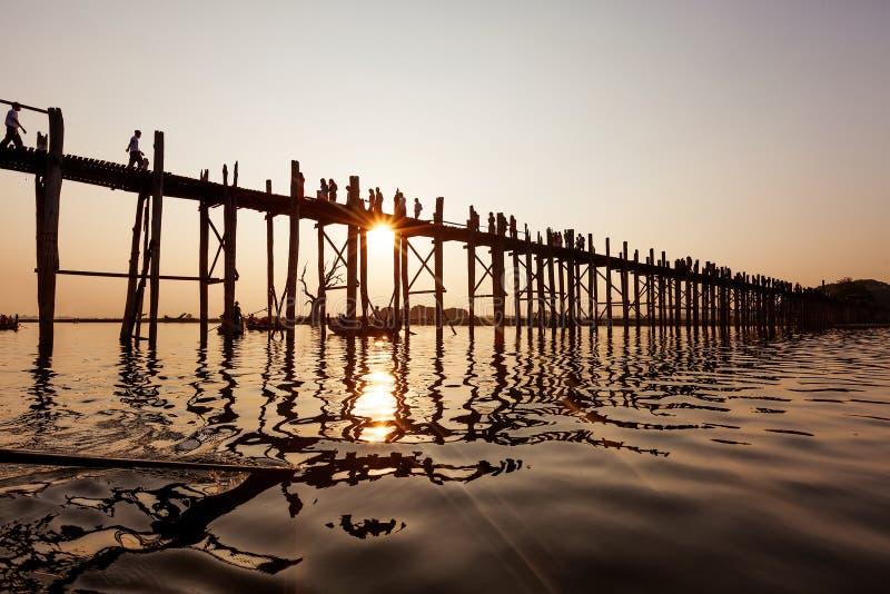 Ubein Bridge at sunrise, Mandalay. Myanmar stock images