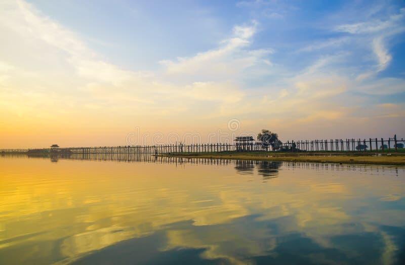 Ubein Bridge at sunrise, Mandalay, Myanmar. (World longest wooden bridge royalty free stock photography
