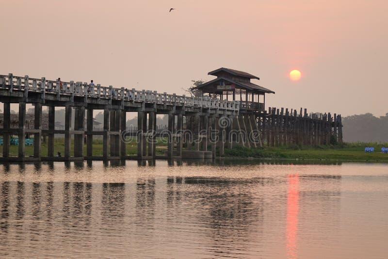 Ubein bridge in sunrise. Ubein bridge in surise, Mandalay, Myanmar stock images