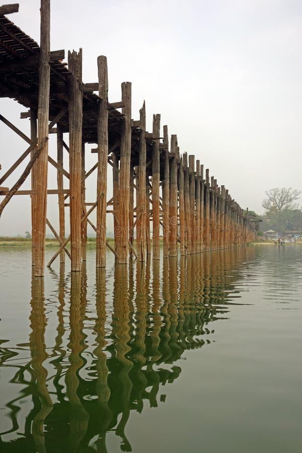 Ubein, World longest wooden bridge, Mandalay, Myanmar. Ubein, World longest wooden bridge, Mandalay Myanmar in the evening stock image