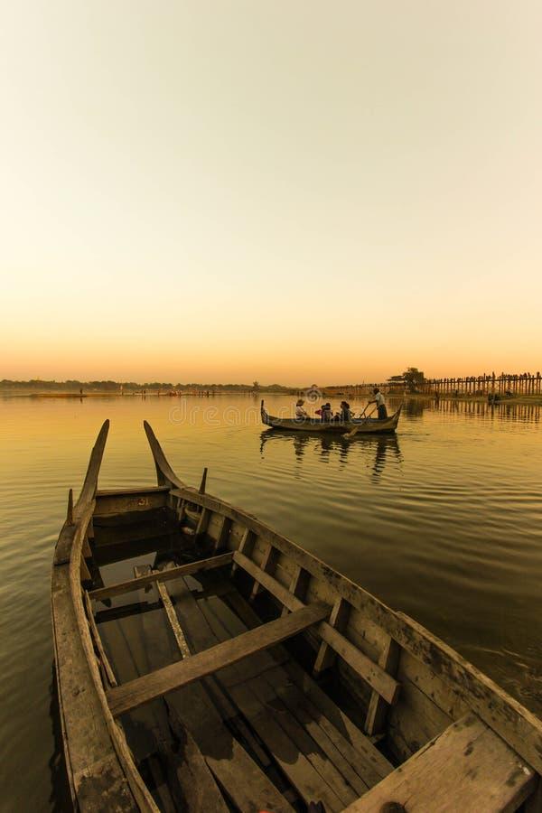Ubeng flod Myanmar arkivfoton