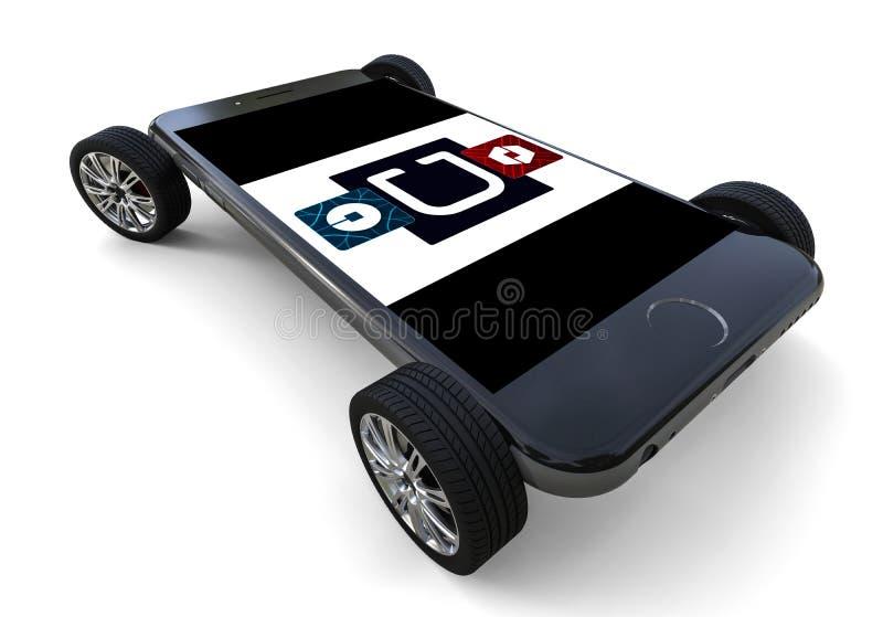 Uber logo på smartphonen med hjul royaltyfri illustrationer