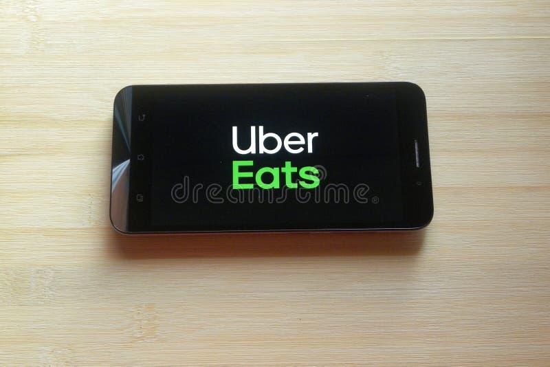 Uber mangia il app immagine stock libera da diritti
