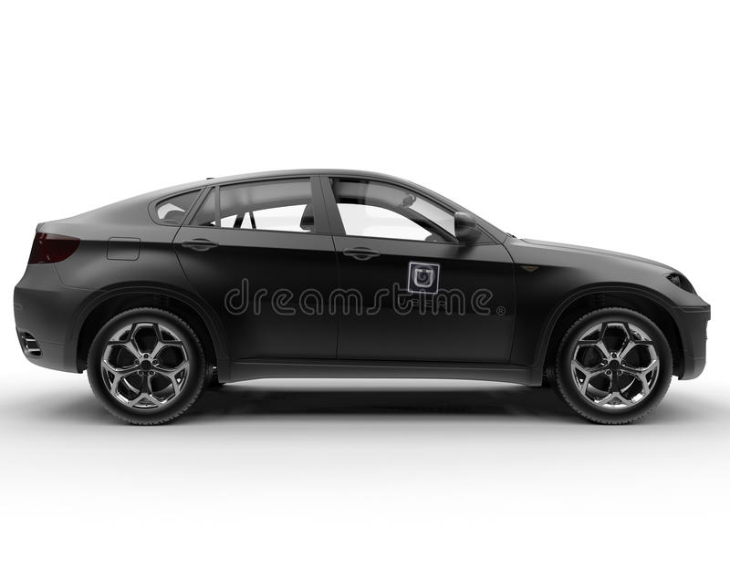 UBER partner car concept. 3D rendered illustration of a UBER partner car. This is a ride sharing application that is currently having a huge success on different vector illustration