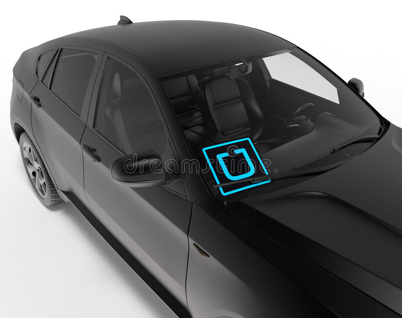 UBER sign in windshield. 3D rendered illustration of the UBER sign position in the windshield. The sign is using LED technology and it is positioned in front to vector illustration