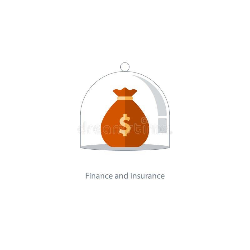 Ubezpieczenia finansowy zarządzanie, budżeta plan, fundusz emerytalny, emerytura savings ilustracja wektor