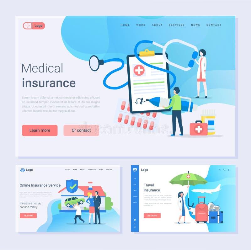 Ubezpieczenia Medycznego i Online usługi Ustalona strona internetowa royalty ilustracja