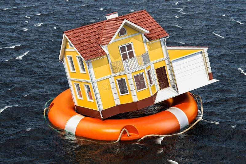 Ubezpieczenia od powodzi pojęcie Stwarza ognisko domowe wśrodku lifebuoy dopłynięcia w wa royalty ilustracja
