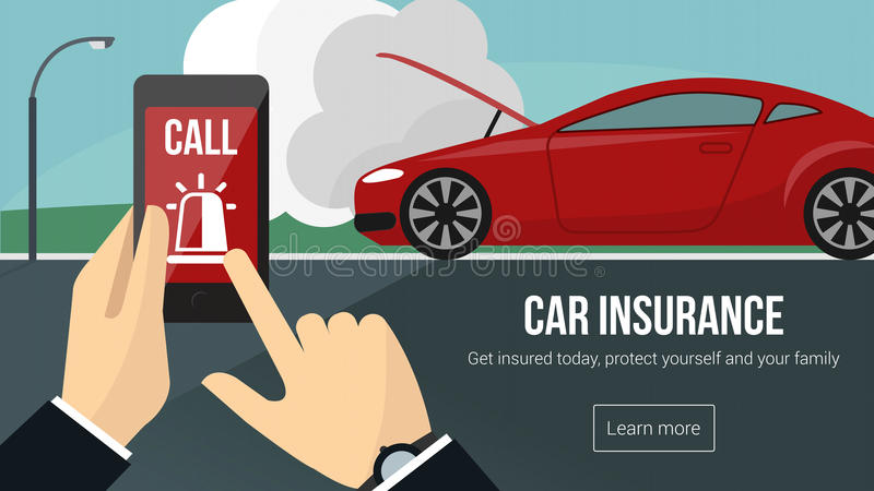 Ubezpieczenia samochodu i bezpieczeństwa sztandar ilustracja wektor
