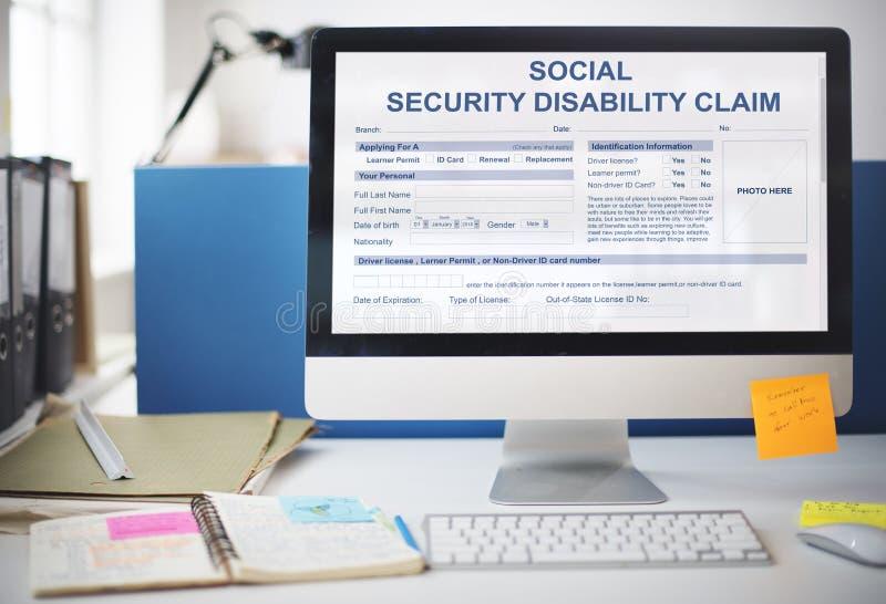Ubezpieczenia Społecznego Inwalidzkiego żądania pojęcie fotografia stock