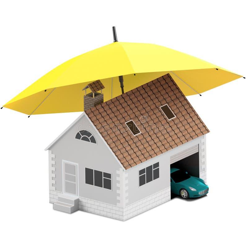 Ubezpieczenie dom, dom, życie, samochodowa ochrona Kupować dom i samochód dla rodzinnej ikony Gaceń pojęć ludzie ilustracja 3 d i royalty ilustracja