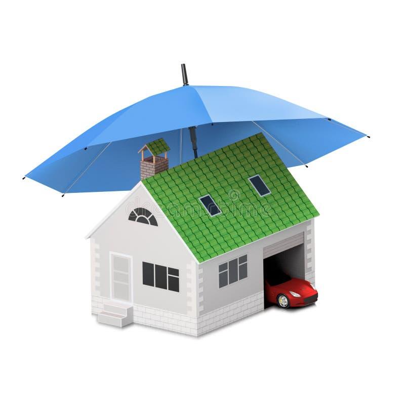 Ubezpieczenie dom, dom, życie, samochodowa ochrona Kupować dom i ca ilustracja wektor