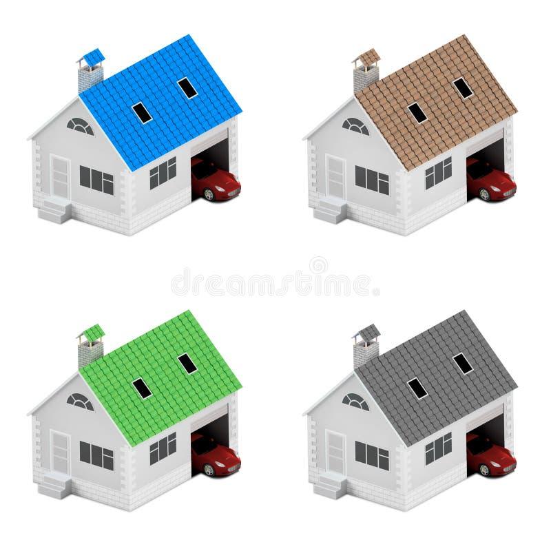 Ubezpieczenie dom, dom, życie, samochodowa ochrona Kupować dom i samochód dla rodzinnej ikony Gaceń ludzie pojęcia ilustracja 3 d ilustracja wektor
