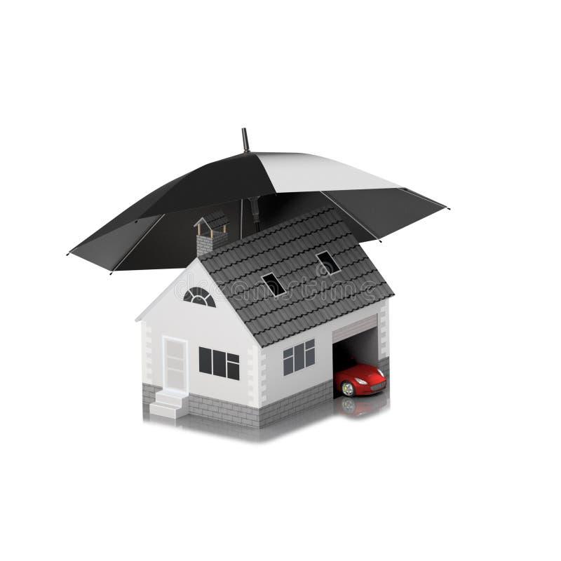 Ubezpieczenie dom, dom, życie, samochodowa ochrona Kupować dom i samochód dla rodzinnej ikony Gaceń ludzie pojęcia ilustracja 3 d ilustracji