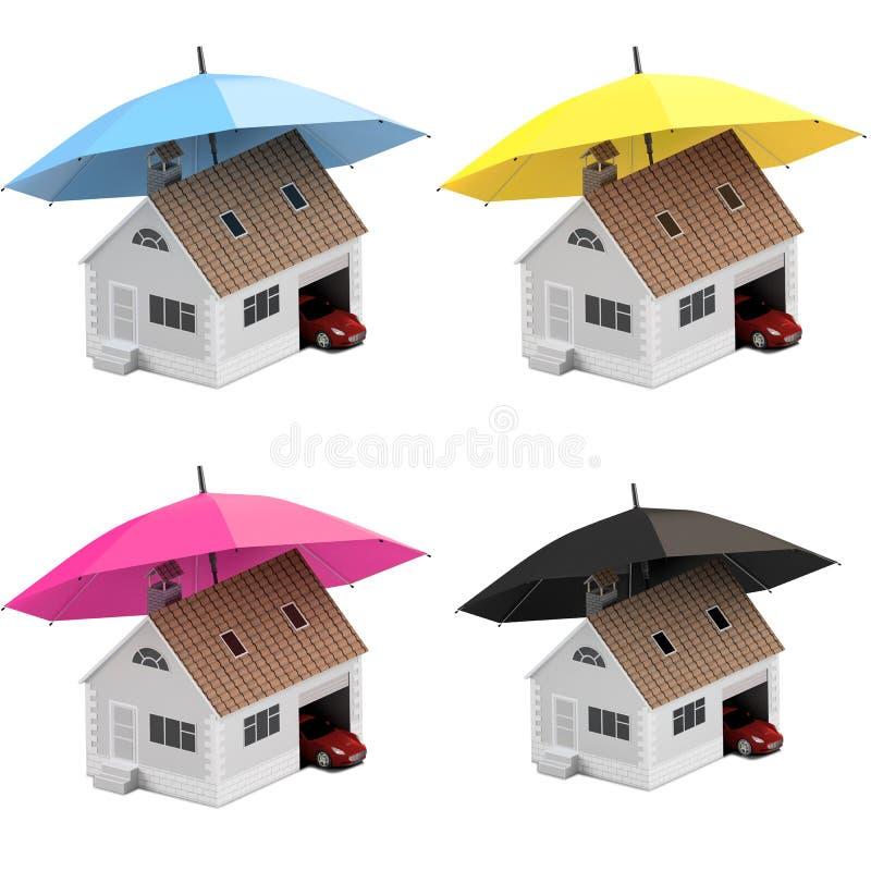 Ubezpieczenie dom, dom, życie, samochodowa ochrona Kupować dom i samochód dla rodzinnej ikony Gaceń pojęć ludzie ilustracja 3 d i ilustracji