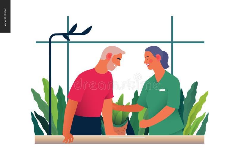 Ubezpieczenie medyczne ilustracja - rehabilitacja i fizjoterapia ilustracja wektor