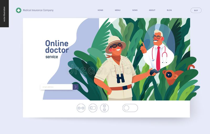 Ubezpieczenie medyczne szablon - online lekarki usługa royalty ilustracja