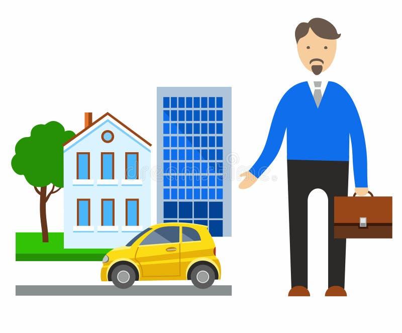 Ubezpieczenie, nieruchomość, samochody, coloured ilustracje royalty ilustracja