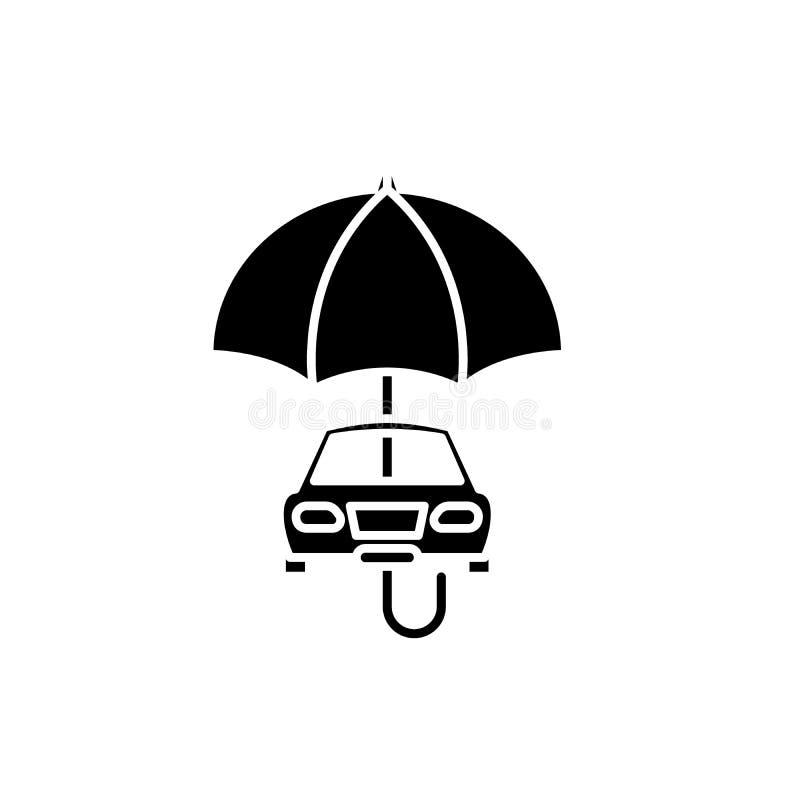 Ubezpieczenie samochodu czarna ikona, wektoru znak na odosobnionym tle Ubezpieczenie samochodu pojęcia symbol, ilustracja ilustracji