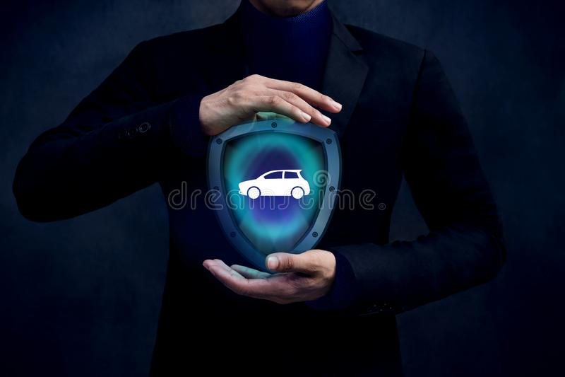 Ubezpieczenie Samochodu firmy skrytka i Podporowy klienta pojęcie, samochód obraz stock