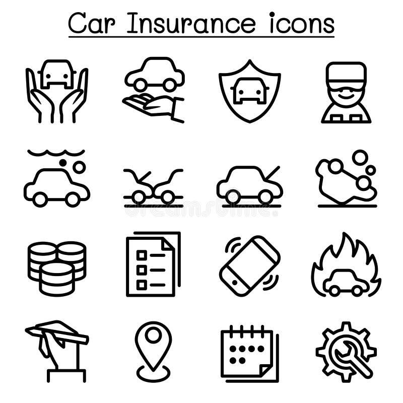 Ubezpieczenie samochodu ikona ustawiająca w cienkim kreskowym stylu ilustracja wektor