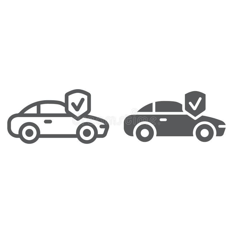 Ubezpieczenie samochodu linia, glif ikona, bezpieczeństwo i samochód, samochód ochrony znak, wektorowe grafika, liniowy wzór na a ilustracji