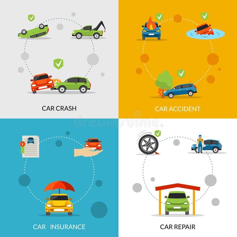 Ubezpieczenie Samochodu set ilustracja wektor