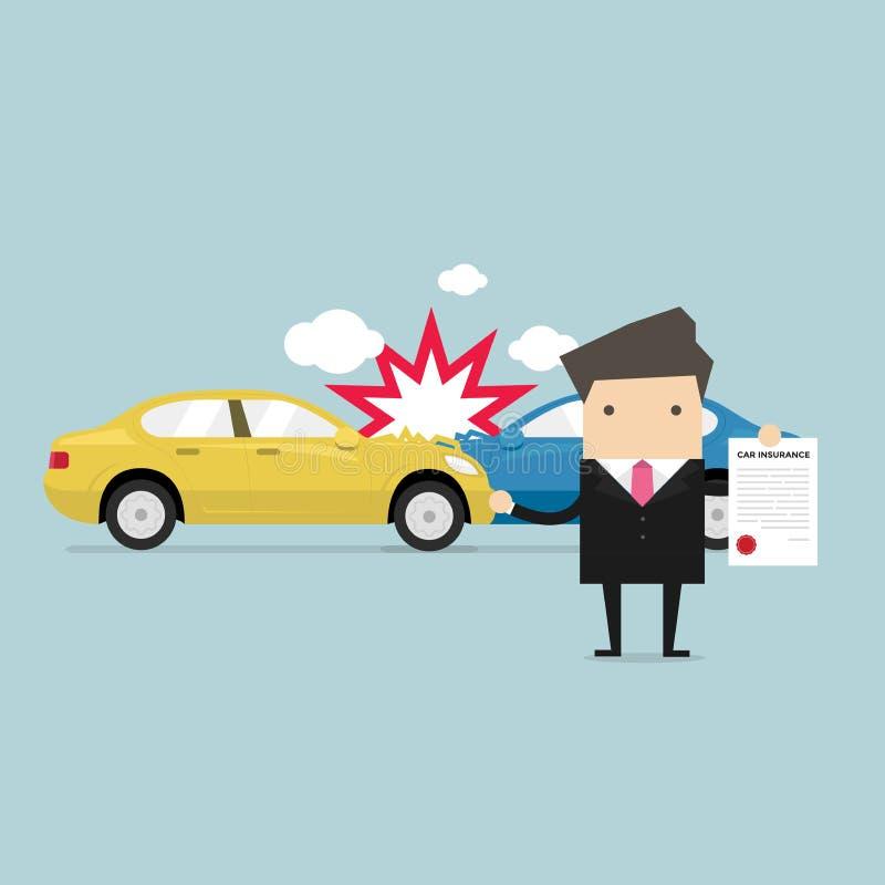 Ubezpieczenie samochodu w usługowym centrum Biznesmen pokazuje dokument samochodowa ochrona ilustracji
