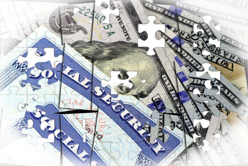Ubezpieczenie społeczne karta i USA waluta sto dolarowy rachunek royalty ilustracja