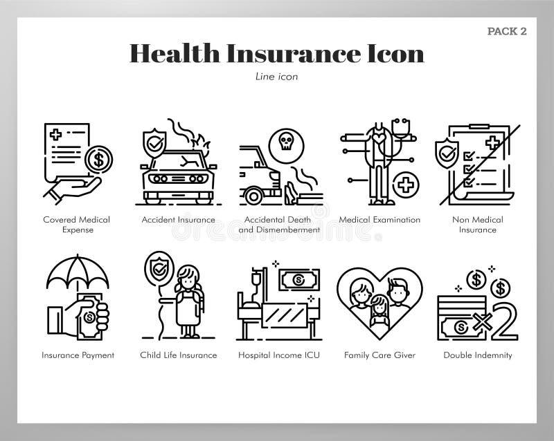 Ubezpieczenie zdrowotne ikon linii paczka ilustracja wektor
