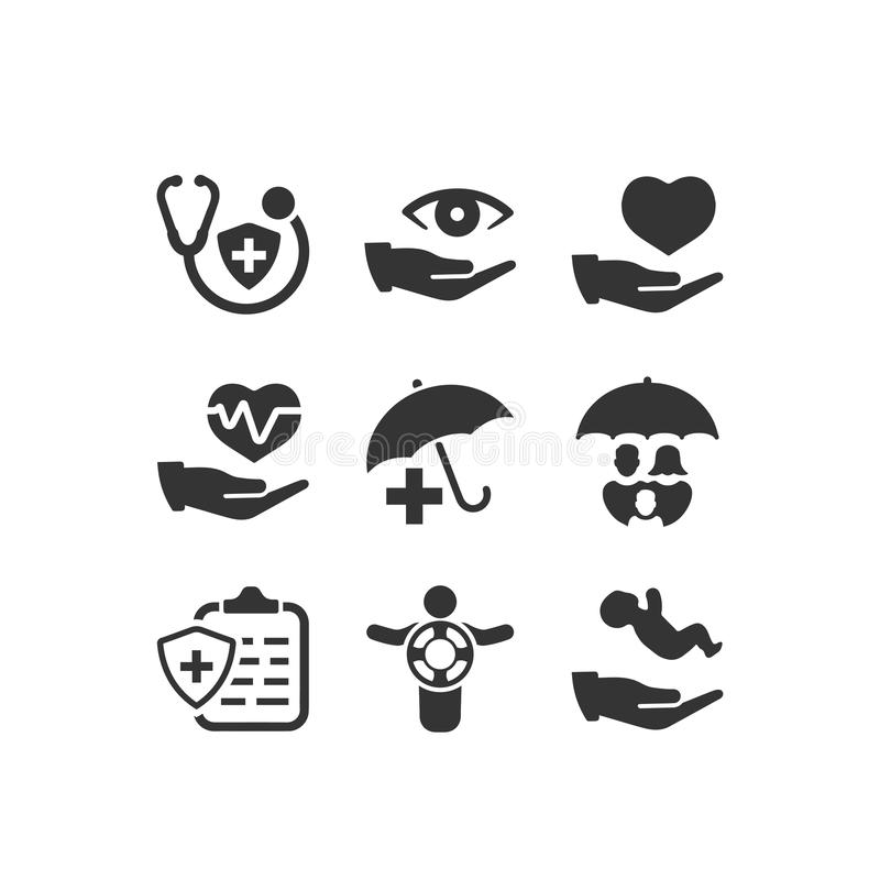 Ubezpieczenie Zdrowotne ikony - Szara wersja royalty ilustracja