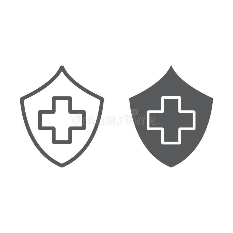 Ubezpieczenie zdrowotne linia, glif ikona, bezpieczeństwo i opieka, opieka zdrowotna znak, wektorowe grafika, liniowy wzór na bie ilustracja wektor