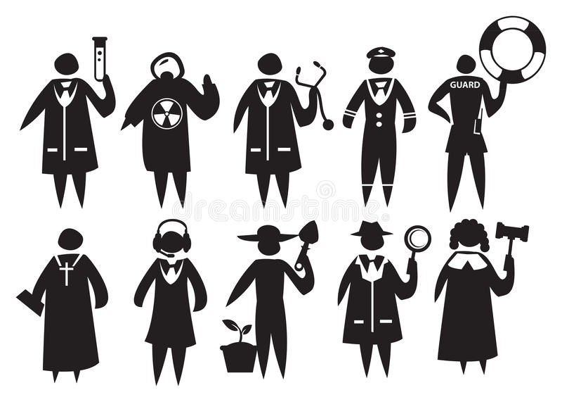 Ubiór i mundur Różni profesjonaliści ilustracja wektor