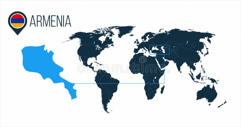 Ubicación de Armenia en el mapa del mundo para el infographics Todos los países del mundo sin nombres Bandera de la ronda de Arme libre illustration