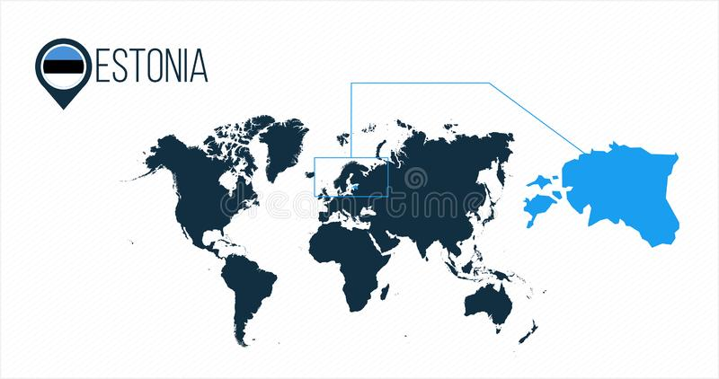 Ubicación de Estonia en el mapa del mundo para el infographics Todos los países del mundo sin nombres Bandera de la ronda de Esto stock de ilustración