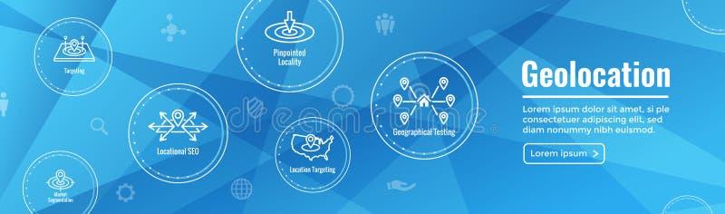 Ubicación de Geo que apunta con la colocación de GPS y el icono de Geolocation stock de ilustración