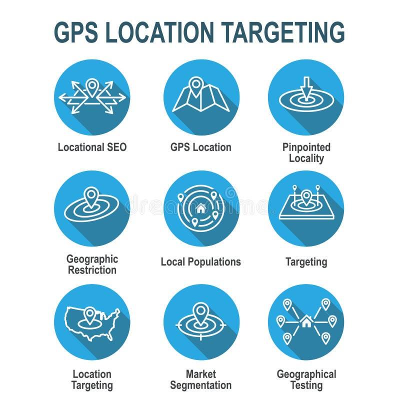Ubicación de Geo que apunta con la colocación de GPS y el icono de Geolocation ilustración del vector