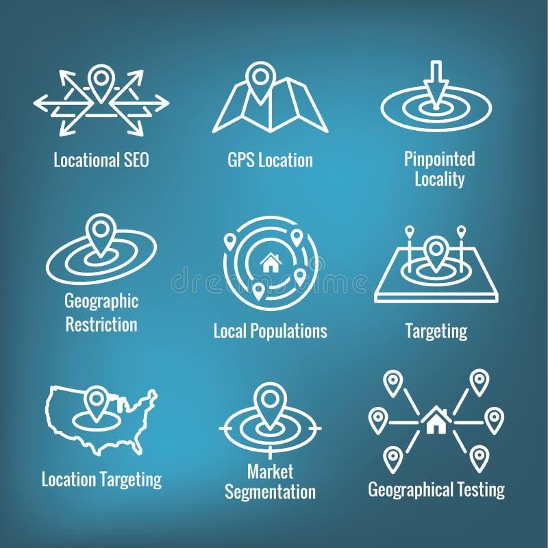 Ubicación de Geo que apunta con la colocación de GPS y el sistema del icono de Geolocation ilustración del vector
