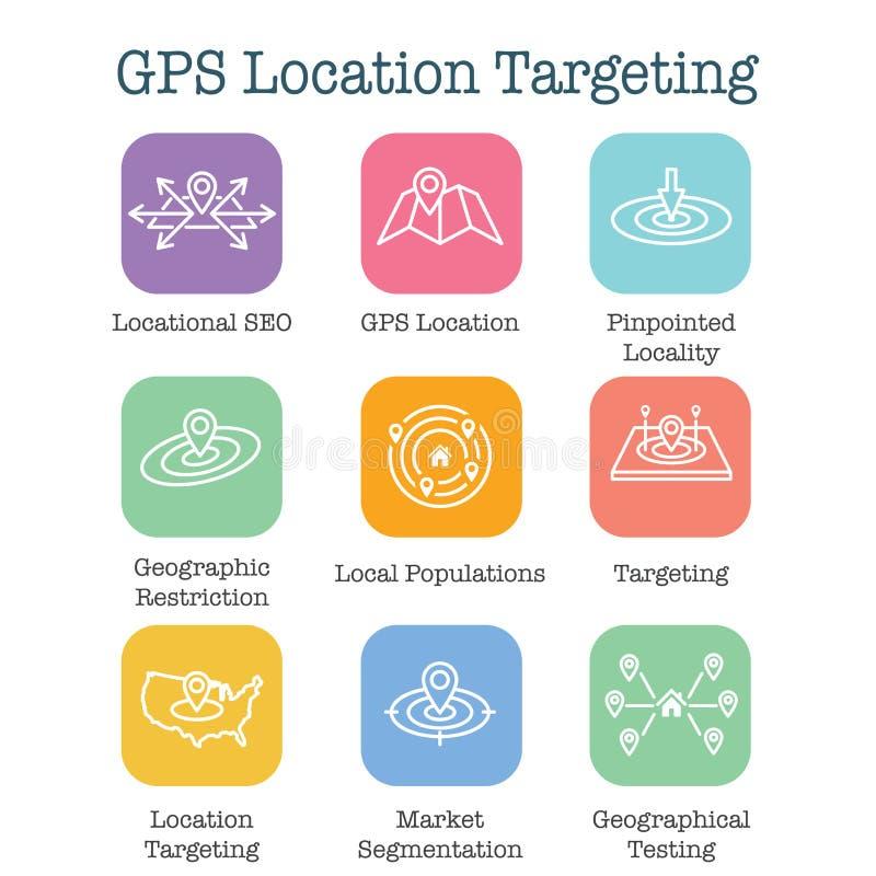 Ubicación de Geo que apunta con la colocación de GPS y el sistema del icono de Geolocation stock de ilustración