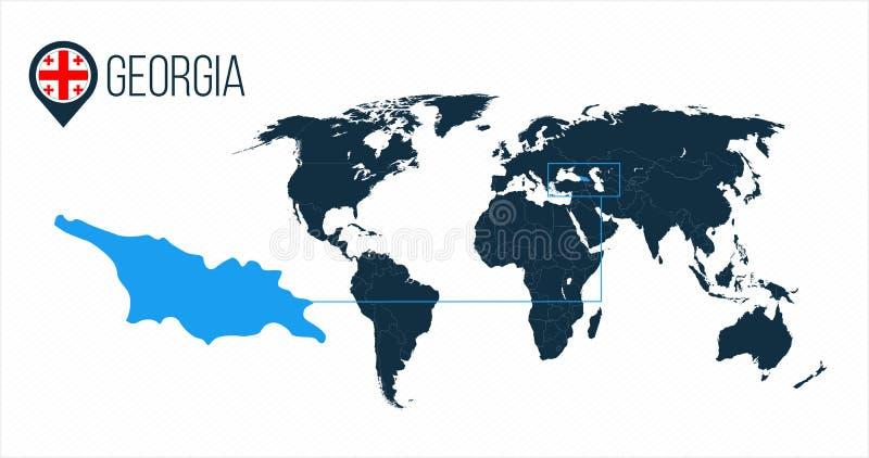 Ubicación de Georgia en el mapa del mundo para el infographics Todos los países del mundo sin nombres Bandera de la ronda de Geor ilustración del vector