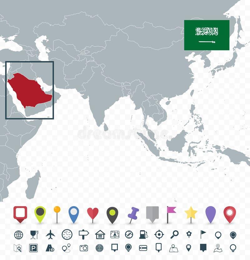 Ubicación de la Arabia Saudita en el mapa de Asia libre illustration