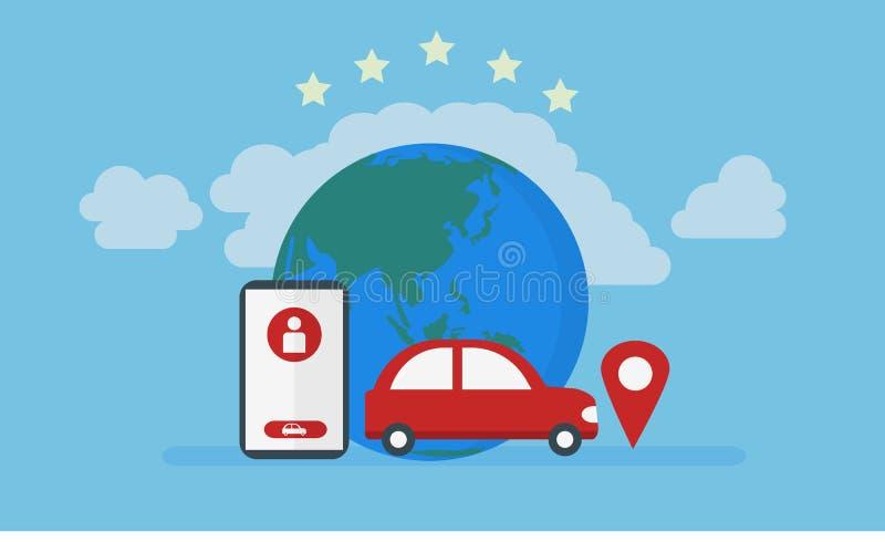 Ubicación de los gps del coche, ejemplo en línea del servicio del taxi stock de ilustración