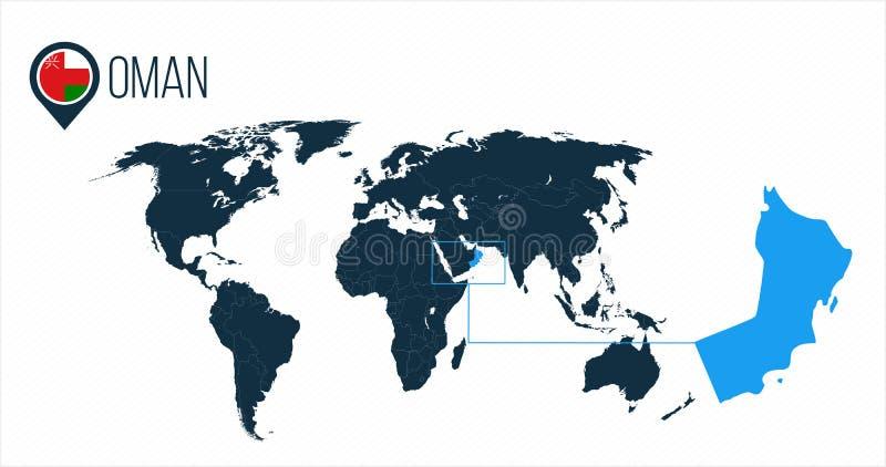 Ubicación de Omán en el mapa del mundo para el infographics Todos los países del mundo sin nombres Bandera de la ronda de Omán en stock de ilustración
