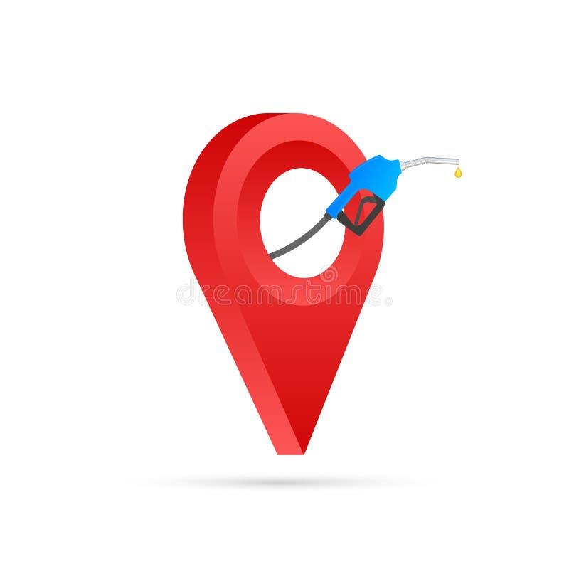 Ubicación del icono de la gasolinera Surtidor de gasolina, icono del marcador de los gps de la ubicación de la estación del combu ilustración del vector