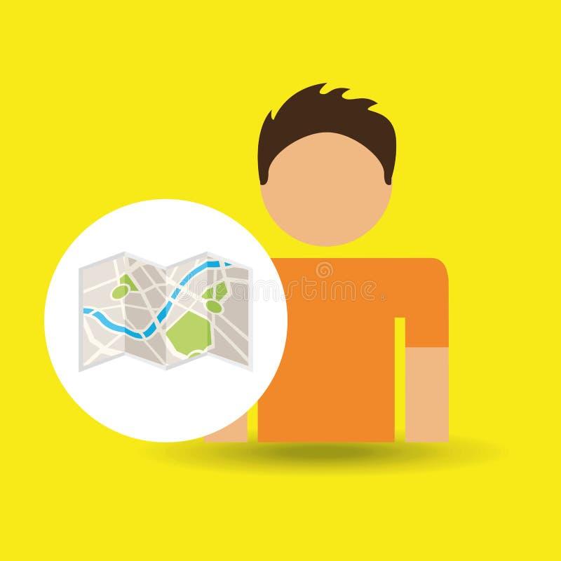 Ubicación del mapa del viajero del carácter masculino stock de ilustración