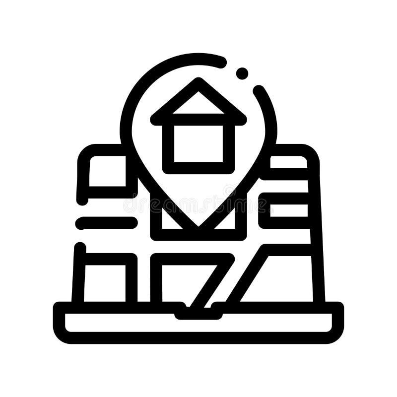 Ubicación del marcador de la casa en la línea fina icono del vector del mapa ilustración del vector