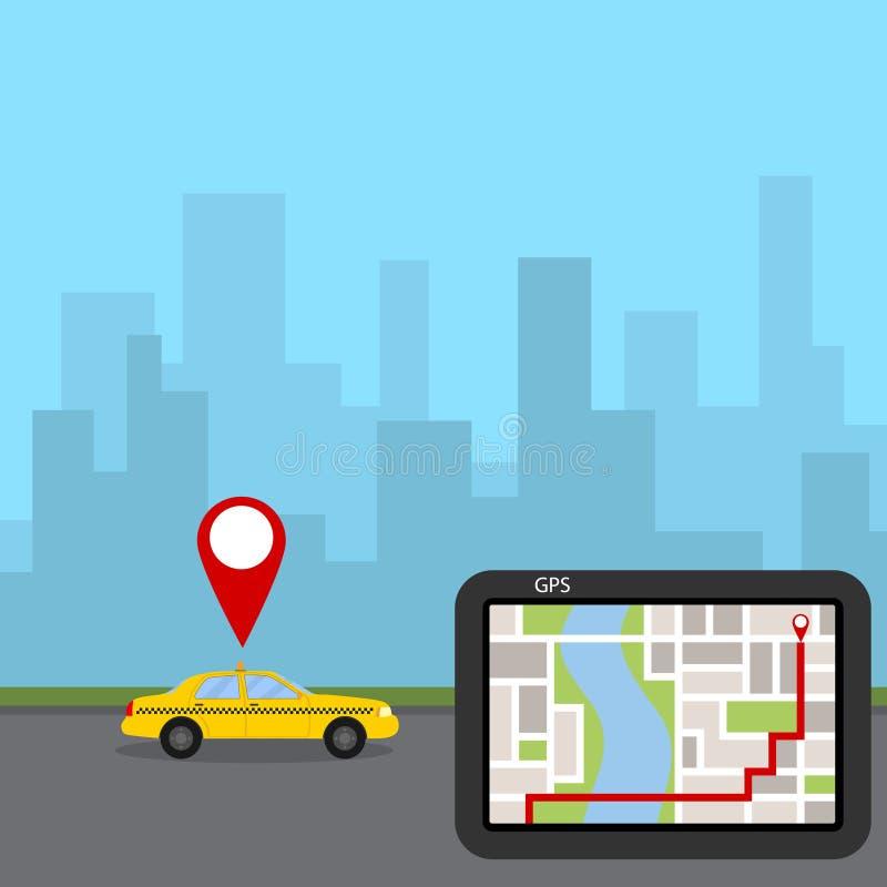 Ubicación del taxi, búsqueda de la ruta, navegador ilustración del vector