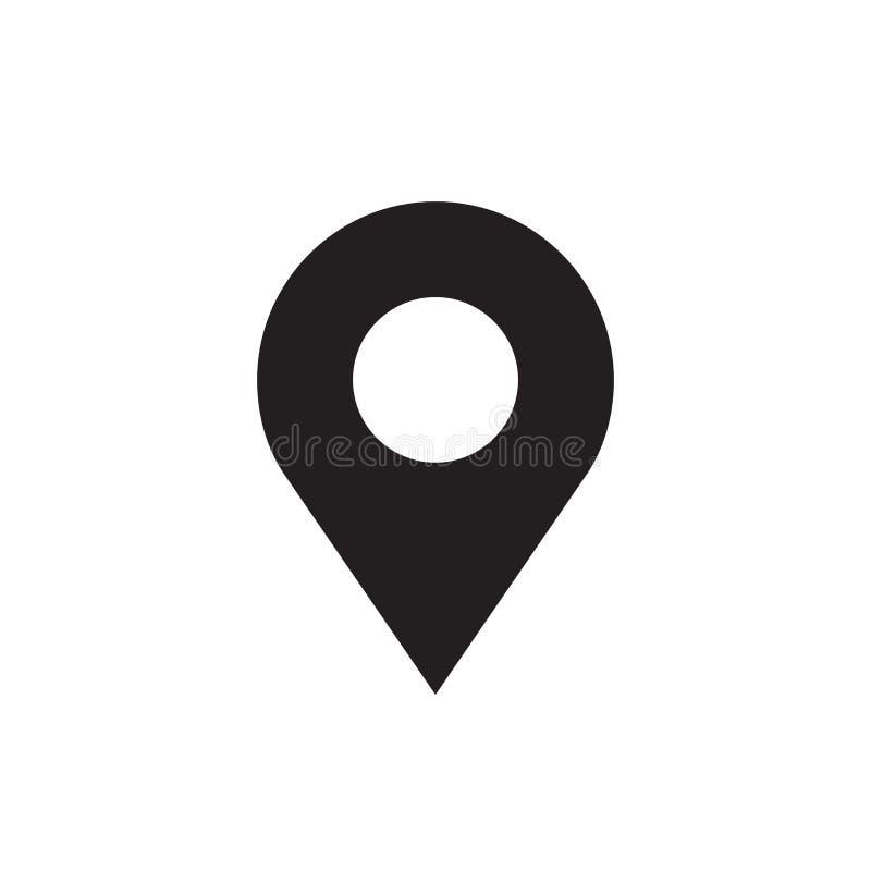 Ubicación - icono negro en el ejemplo blanco del vector del fondo para la página web, aplicación móvil, presentación, infographic stock de ilustración