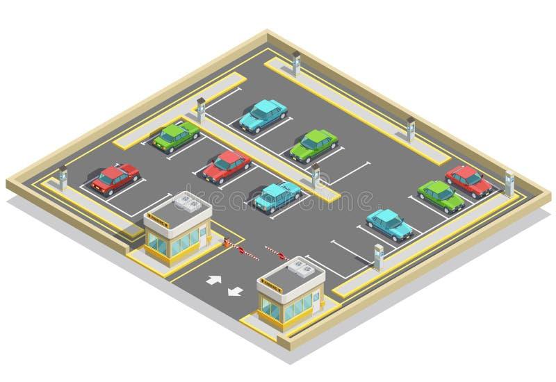 Ubicación isométrica de la zona de estacionamiento ilustración del vector